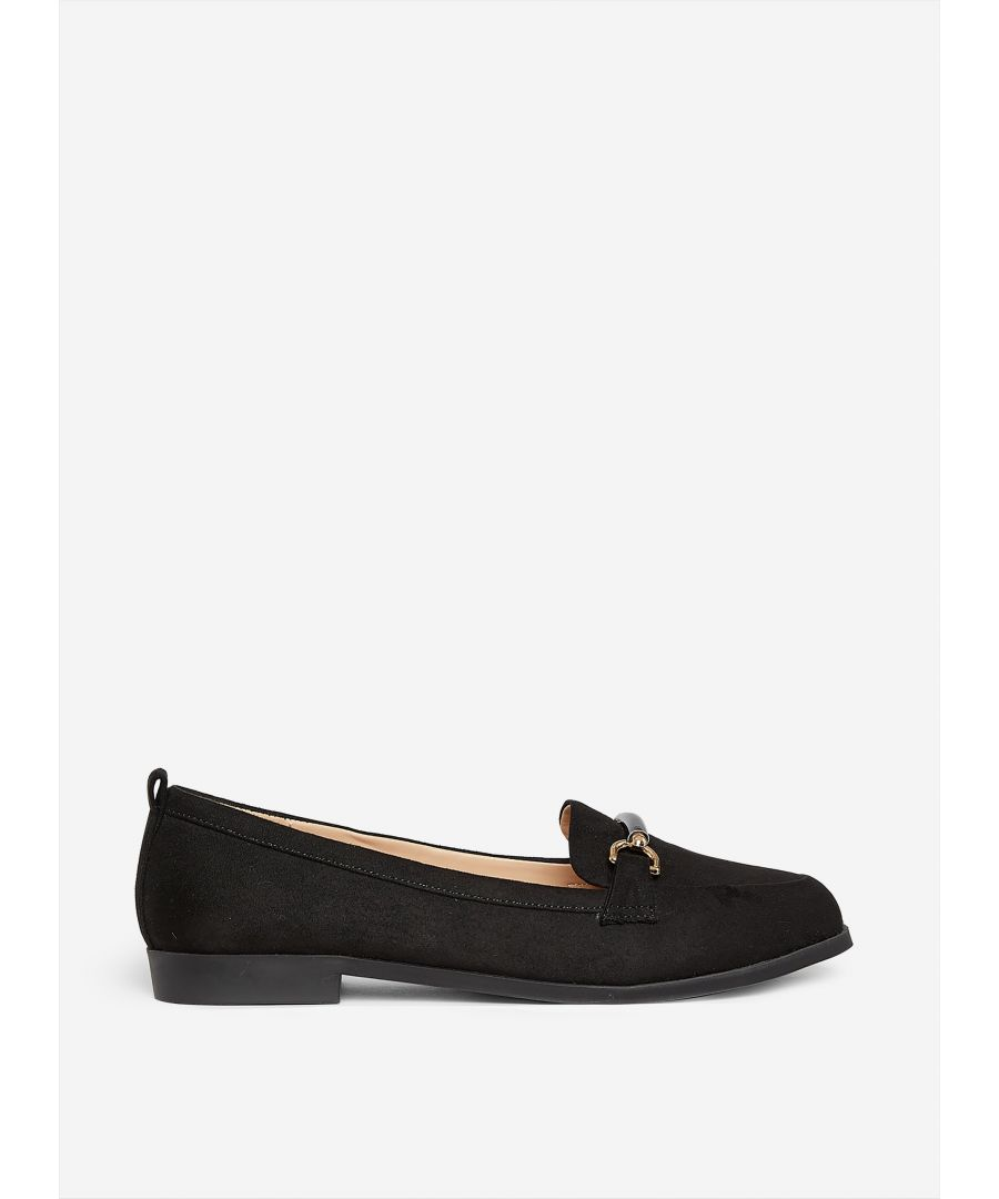 Image for Dorothy Perkins Womens Wide Fit Black Loon Loafers Flats Casual Slip On Casual