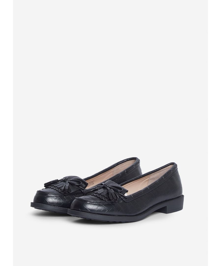 Image for Dorothy Perkins Womens Wide Fit Black Textured Lexy Loafers Flats Slip On Shoes