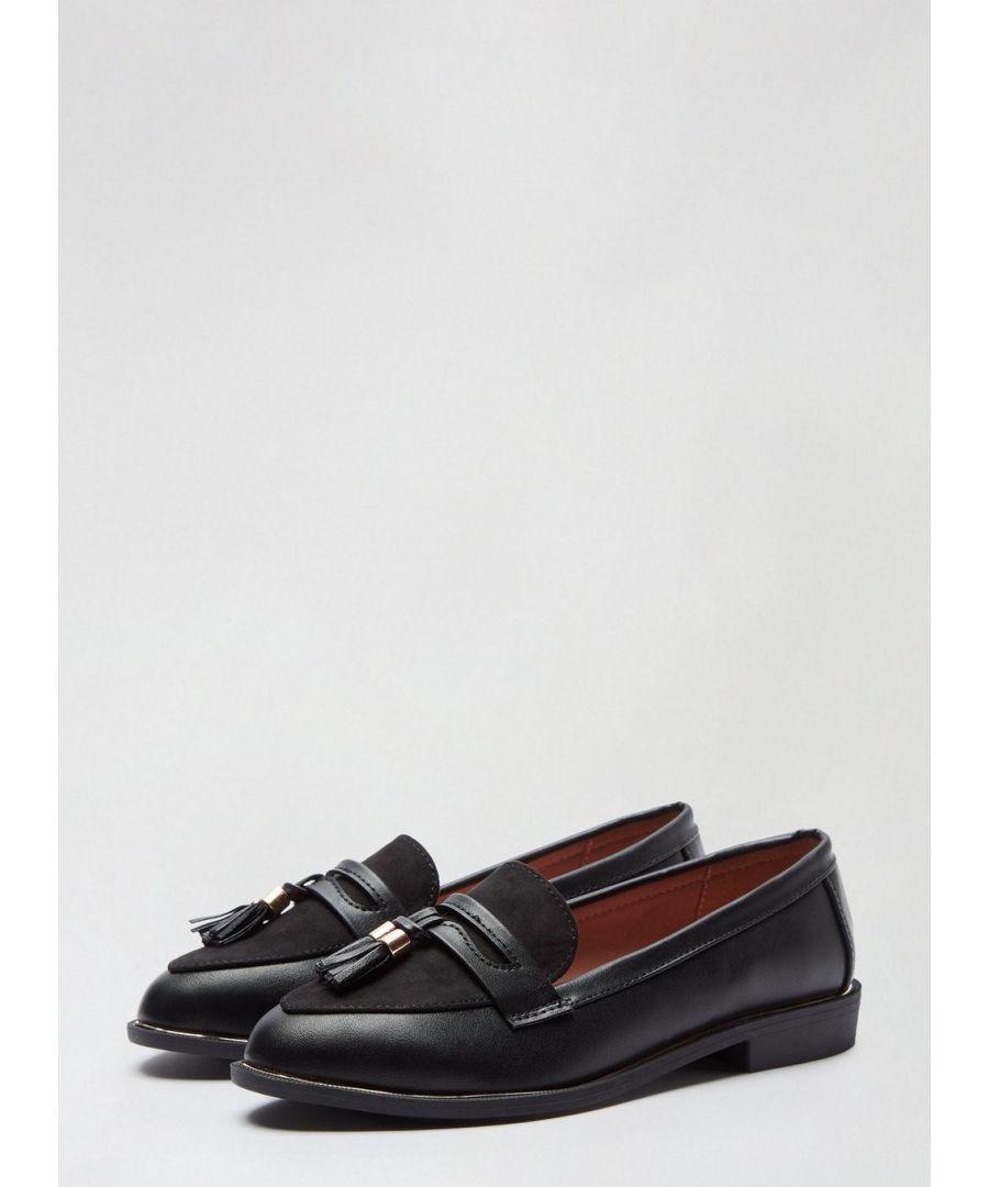 Image for Dorothy Perkins Womens Wide Fit Black Landmark Loafers Flats Comfort Work Shoes