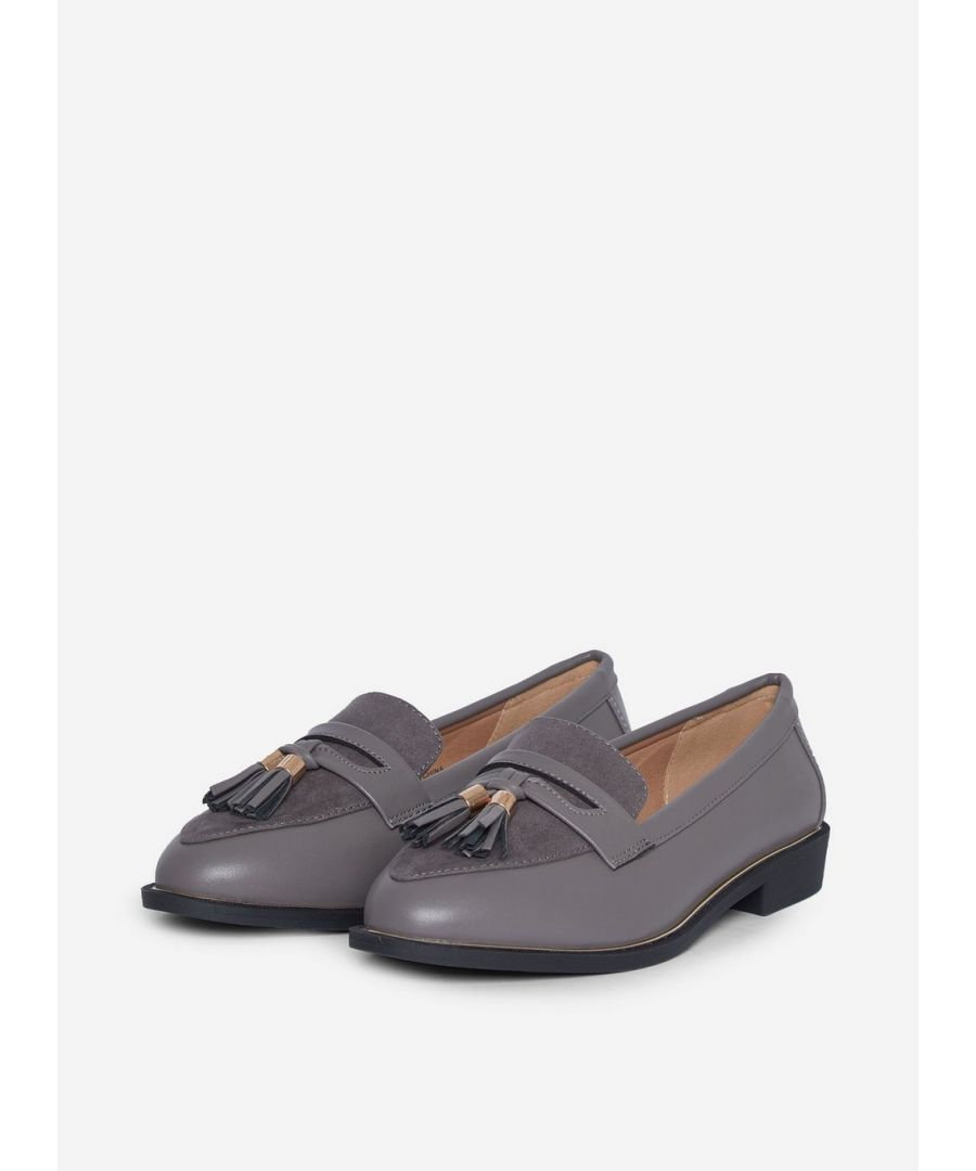 Image for Dorothy Perkins Womens Wide Fit Grey Landmark Loafers Flats Comfort Work Shoes