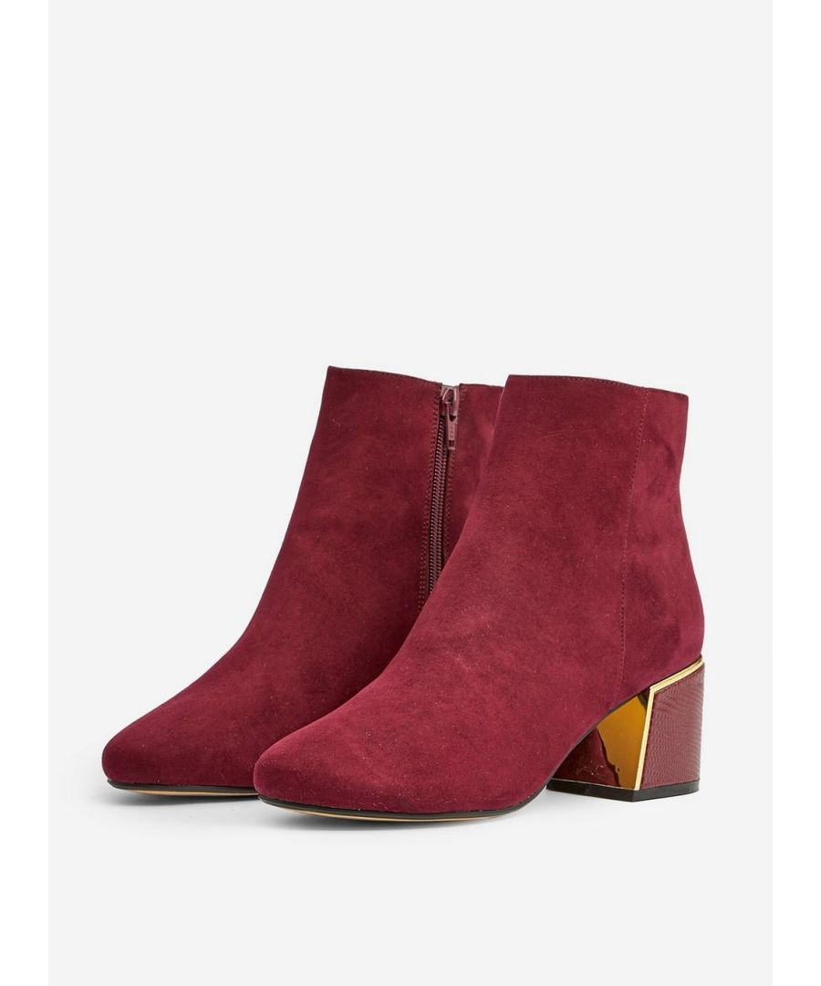 Image for Dorothy Perkins Womens Wide Fit Red Amber Ankle Boots Winter Heeled Shoes