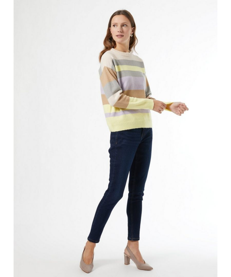 Image for Dorothy Perkins Womens Pink Stripe Print Jumper Pullover Sweater Knitwear Top
