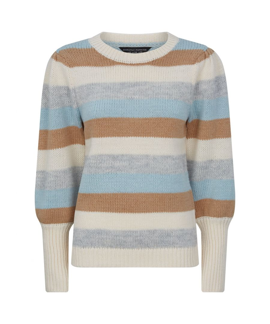 Image for Dorothy Perkins Womens Blue Stripe Jumper Warm Sweater Pullover Knitwear Top