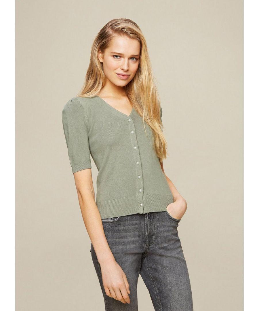 Image for Dorothy Perkins Womens Green Puff Sleeve Cardigan 3/4 Sleeve Jumper Knitwear Top