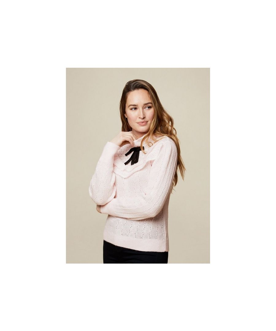 Image for Dorothy Perkins Womens Blush Victoriana Ruffle Bow Jumper Knit Sweater Pullover