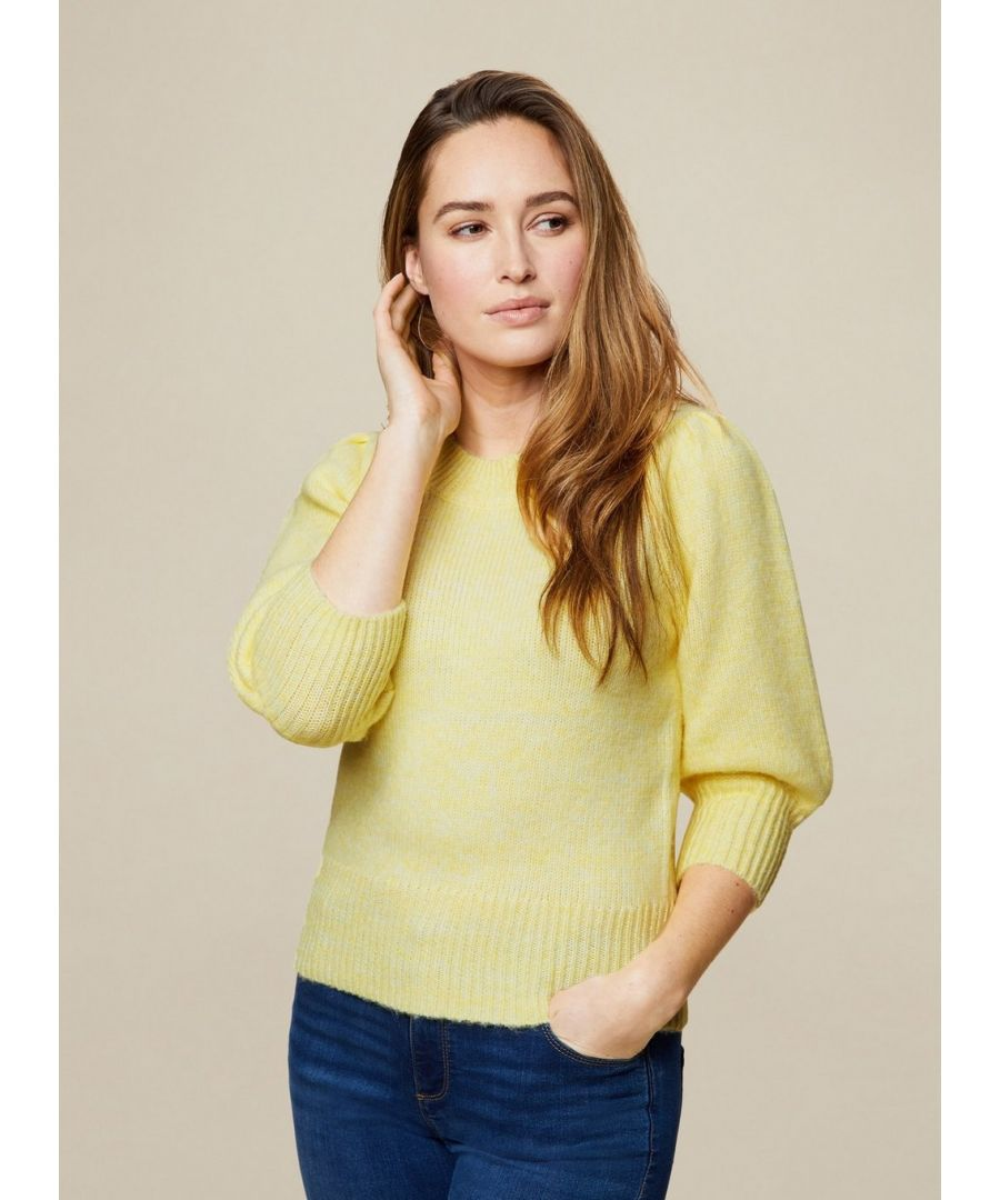 Image for Dorothy Perkins Womens Lemon Knitted T Shirt Blouse Top 3/4 Sleeve Round Neck
