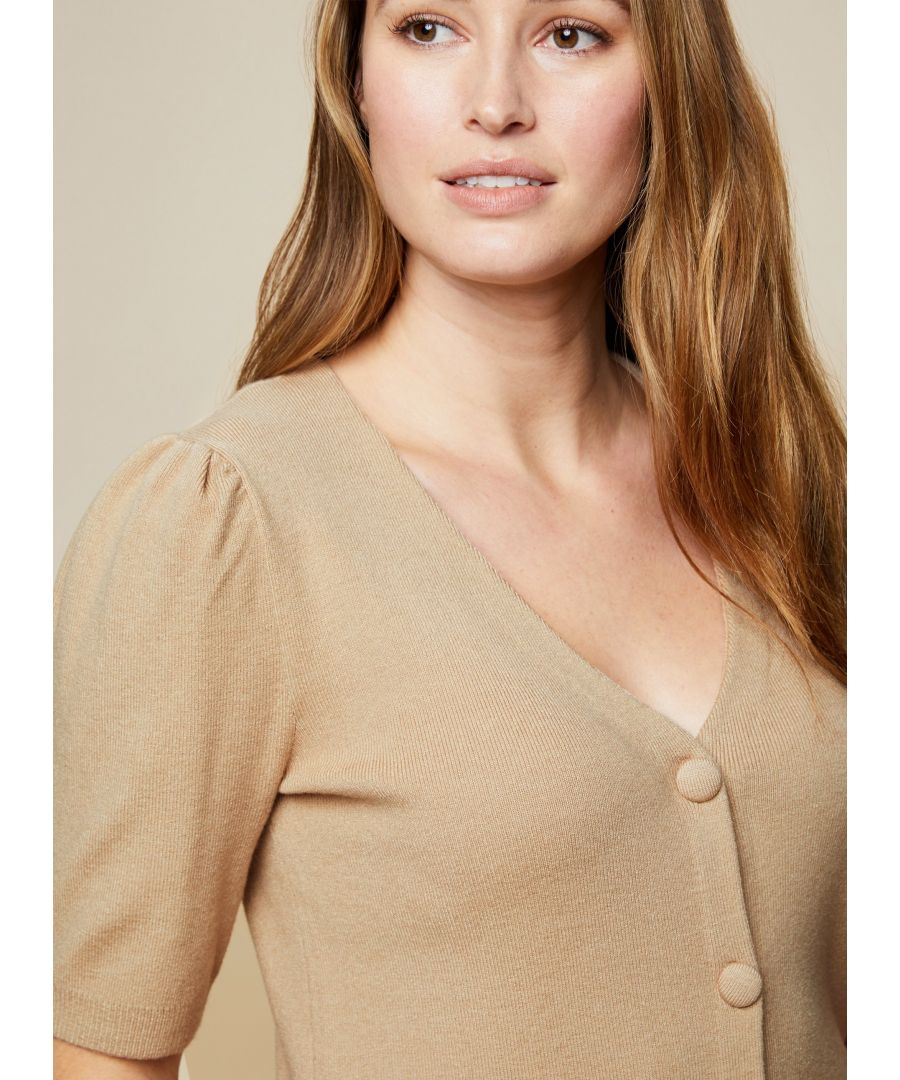 Image for Dorothy Perkins Womens Brown Self Covered Button Cardigan Knitwear Pullover