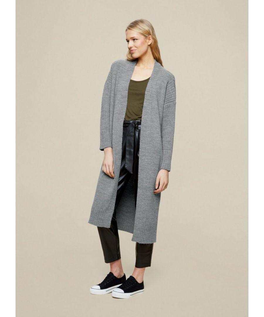 Image for Dorothy Perkins Womens Light Grey Maxi Cardigan Knitwear Jumper Top Long Sleeve