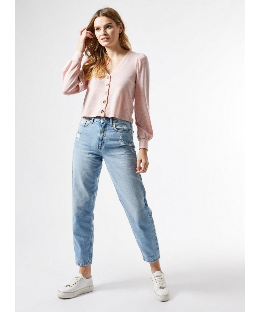 Image for Dorothy Perkins Womens Blush Brushed Cardigan V-Neck Buttoned Cropped