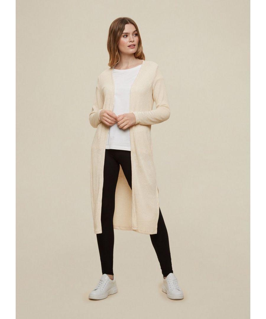 Image for Dorothy Perkins Womens Oatmeal Longline Ribbed Cardigan Long Sleeve Knitwear
