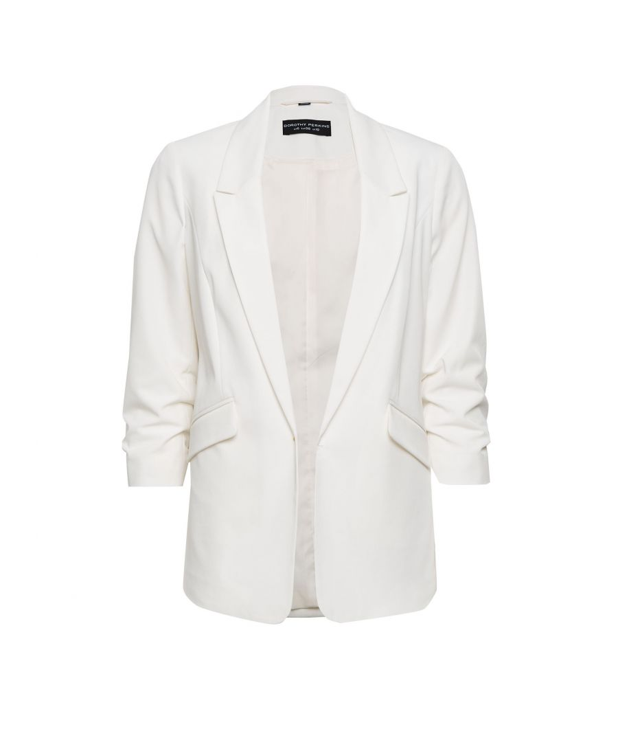 Image for Dorothy Perkins Womens Ivory 3/4 Ruched Sleeve Blazer Jacket Top Outerwear