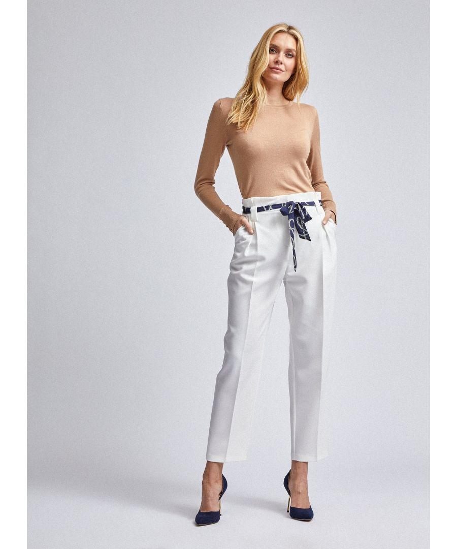 Image for Dorothy Perkins Womens White Slim Printed Tie Belt Trousers Pants Hook & Eye