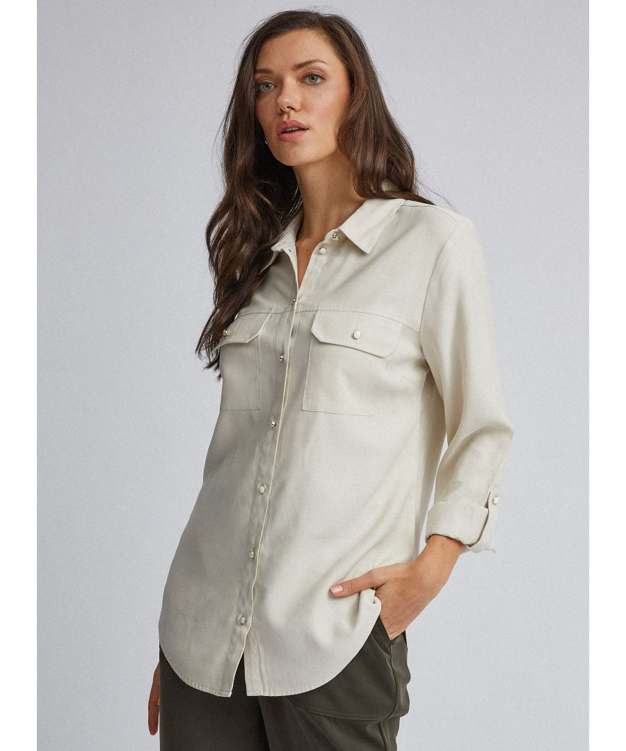 Image for Dorothy Perkins Womens White Utility Shirt 3/4 Sleeve Pockets Buttons Blouse Top