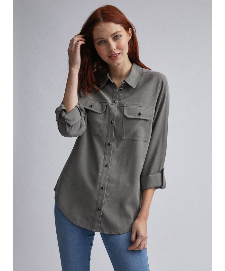 Image for Dorothy Perkins Womens Green Utility Button Up Shirt Casual Blouse Top