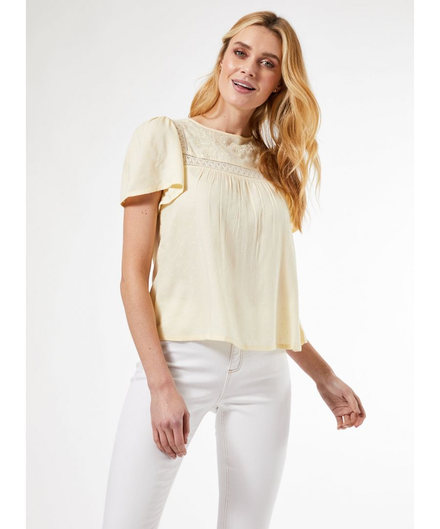 Image for Dorothy Perkins Womens Yellow Embroidery Dobby Top Round Neck Short Sleeve