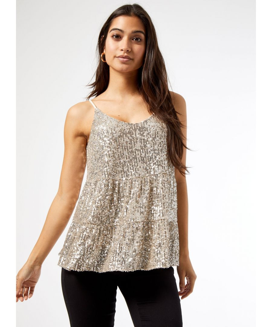 Image for Dorothy Perkins Womens Petite Silver Tiered Sequin Camisole Top Sleeveless Top