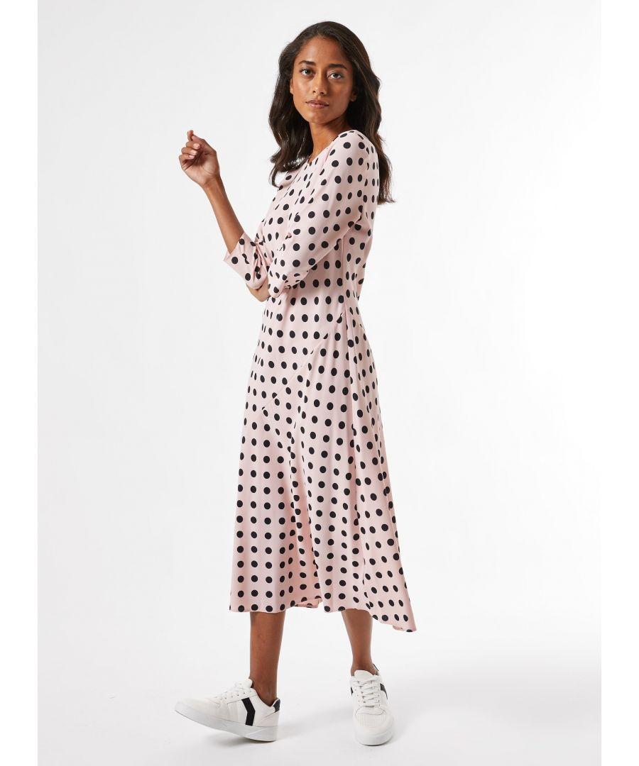 Image for Dorothy Perkins Womens Petite Pink Spot Print Midi Dress Round Neck 3/4 Sleeve