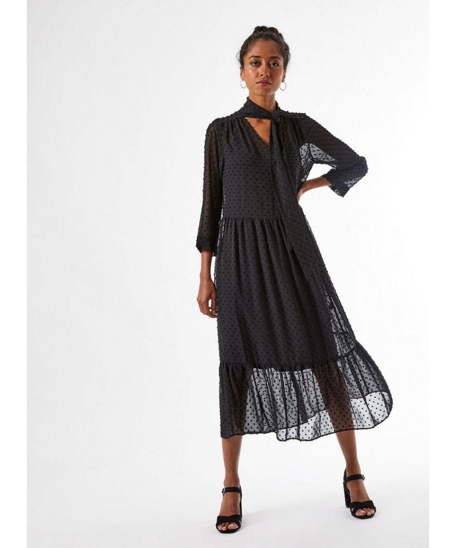 Image for Dorothy Perkins Womens Petite Black Dobby Shirt Dress Tie Neck