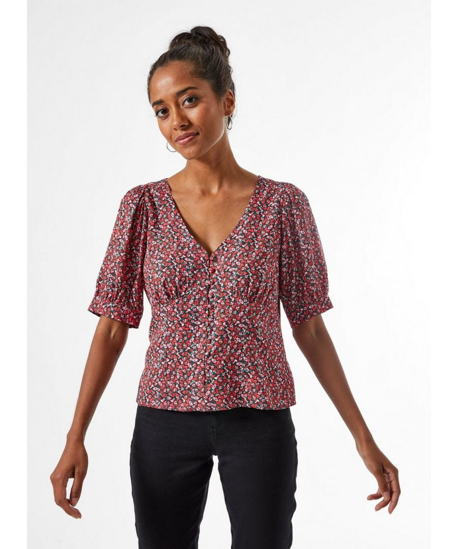Image for Dorothy Perkins Womens Petite Red Ditsy Print Button Through Top Blouse