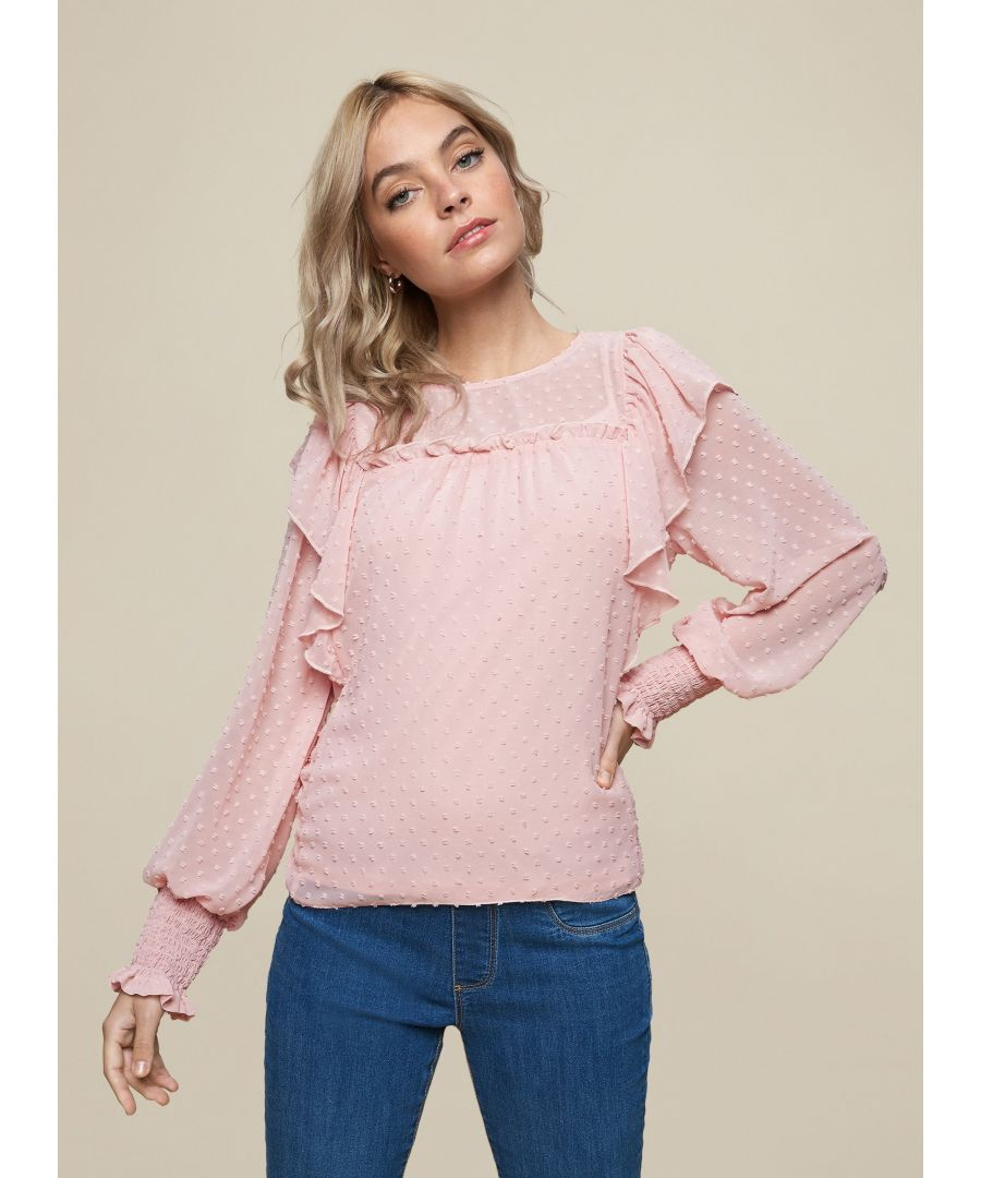 Image for Dorothy Perkins Womens Petite Blush Dobby Top Loose Shirt Blouse Round Neck