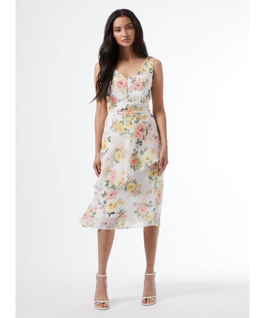 Image for Dorothy Perkins Womens Petite White Floral Print Ruffle Sleeveless Midi Dress