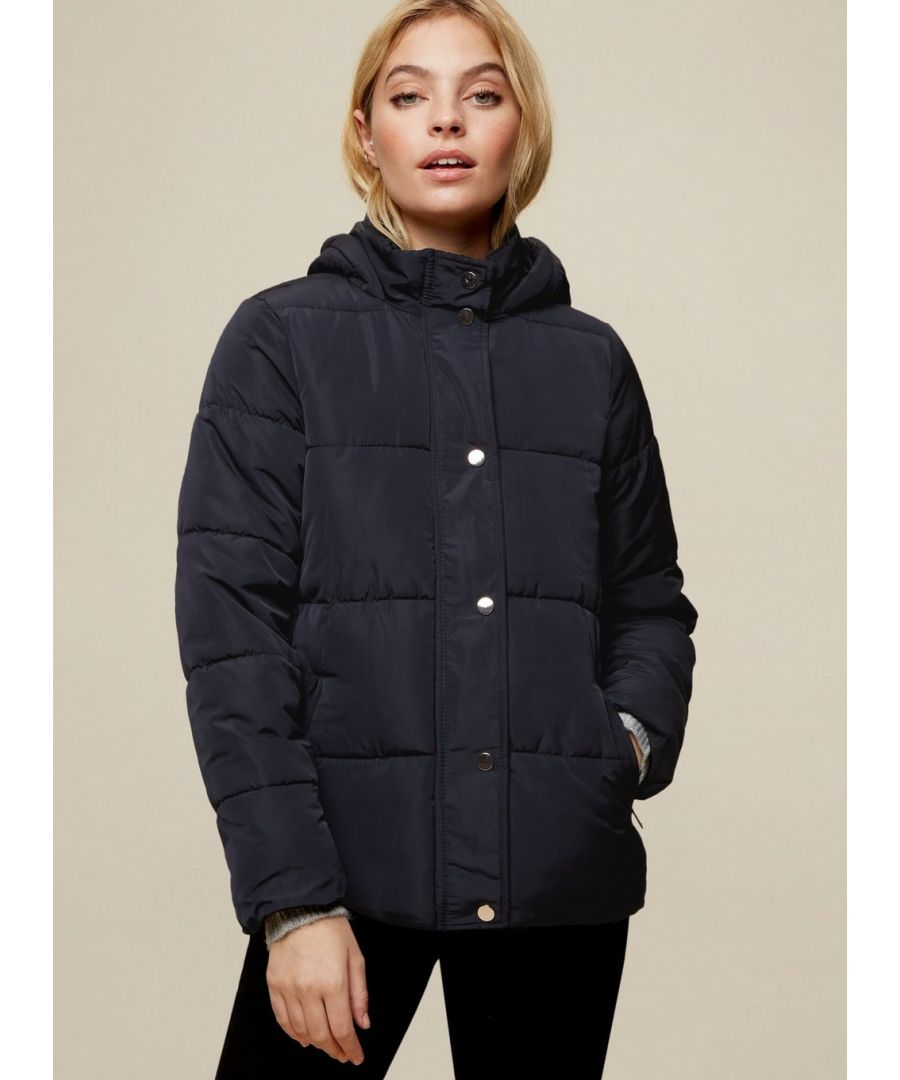 Image for Dorothy Perkins Womens Petite Navy Short Hooded Coat Jacket Outwear Top