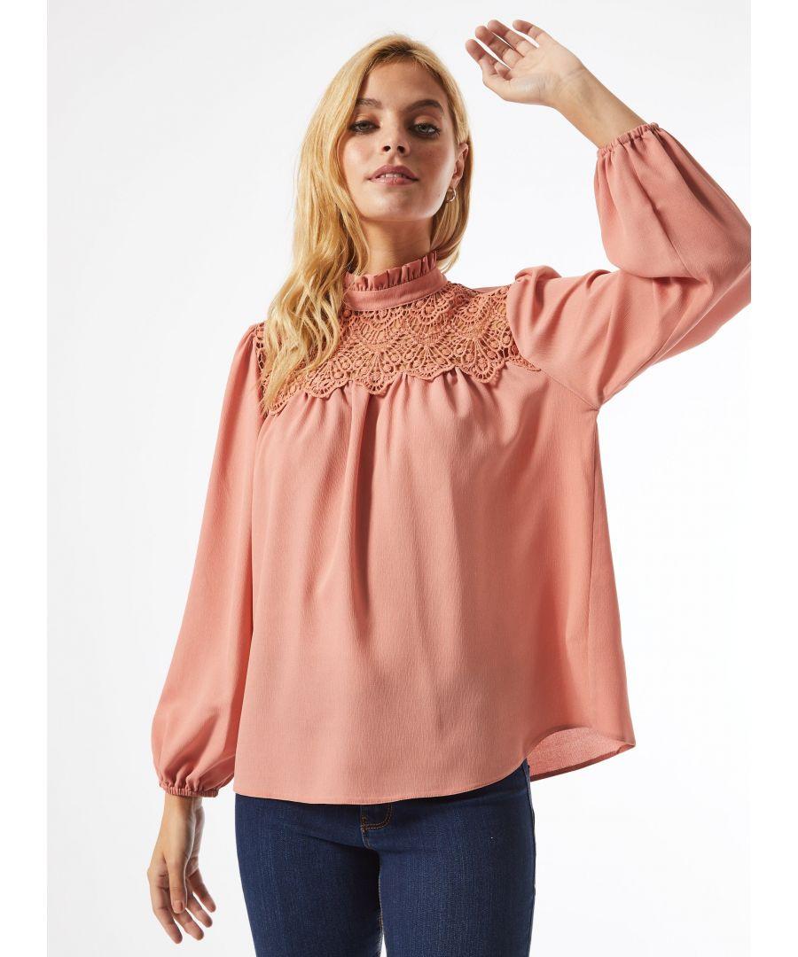 Image for Dorothy Perkins Womens Petite Dark Rose Lace Yoke Top Shirt Blouse Mock Neck