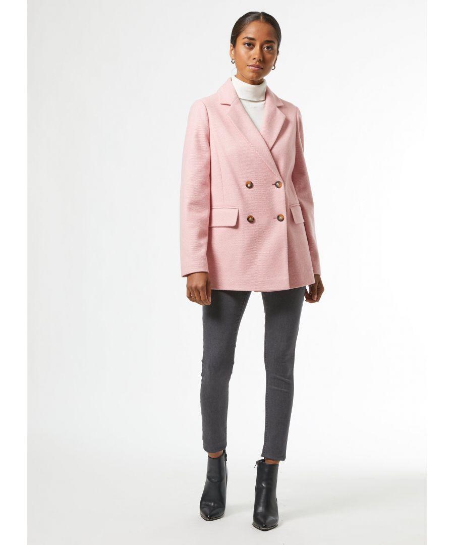 Image for Dorothy Perkins Womens Petite Pink Blazer Coat Jacket Outwear Top Winter Warm