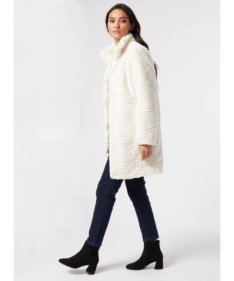 Image for Dorothy Perkins Womens Petite Cream Faux Fur Coat Funnel Neck Winter Warm