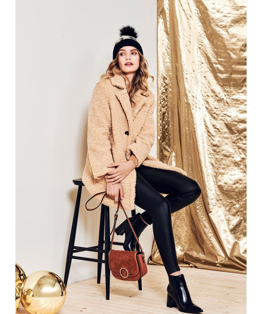 Image for Dorothy Perkins Womens Tan Long Teddy Coat Jacket Outwear Top Warm Winter