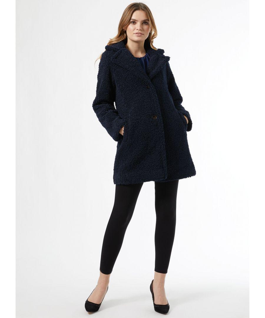 Image for Dorothy Perkins Womens Blue Long Teddy Coat Jacket Outwear Top Warm Winter