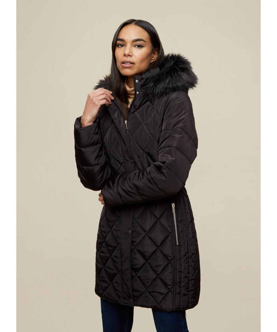 Image for Dorothy Perkins Womens Black Long Fur Neck Jacket Puffer Coat Outwear Top
