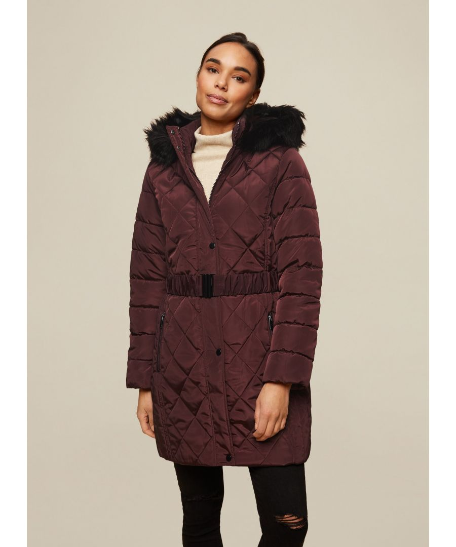 Image for Dorothy Perkins Womens Wine Long Luxe Coat Jacket Outwear Top Warm Winter