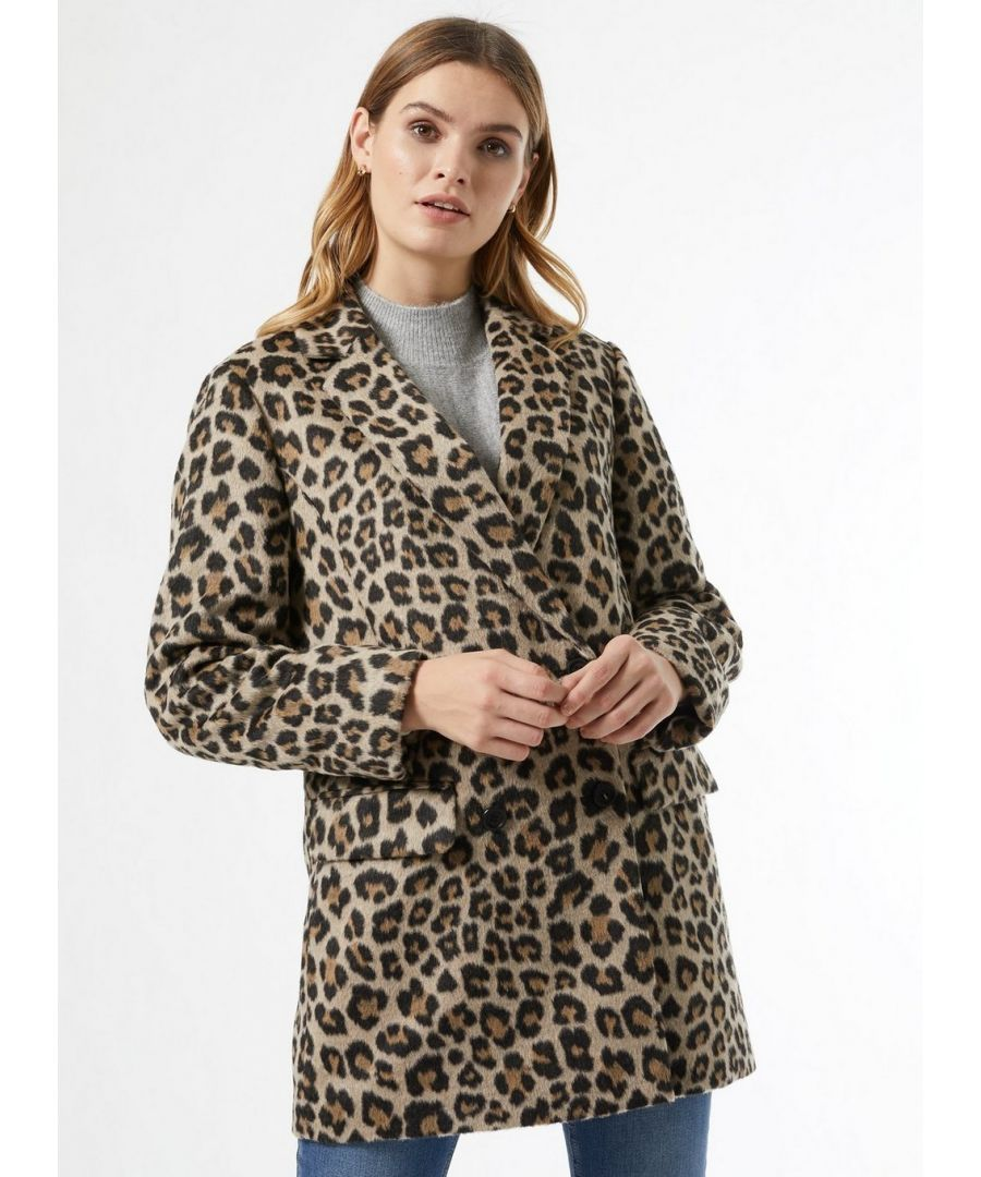 Image for Dorothy Perkins Womens Brown Double Breasted Animal Print Blazer Coat Jacket Top