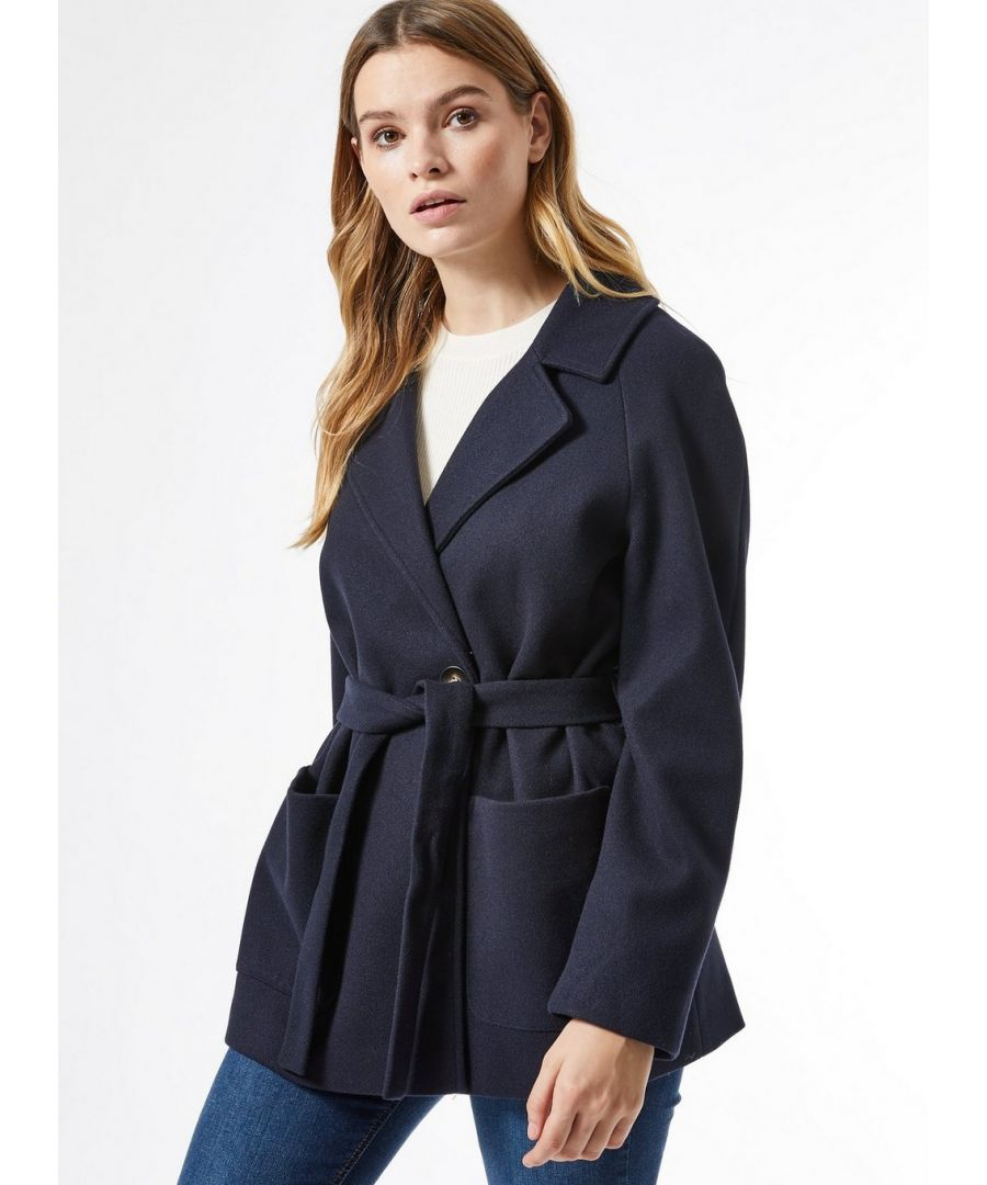 Image for Dorothy Perkins Womens Navy Short Belted Wrap Throw on Coat