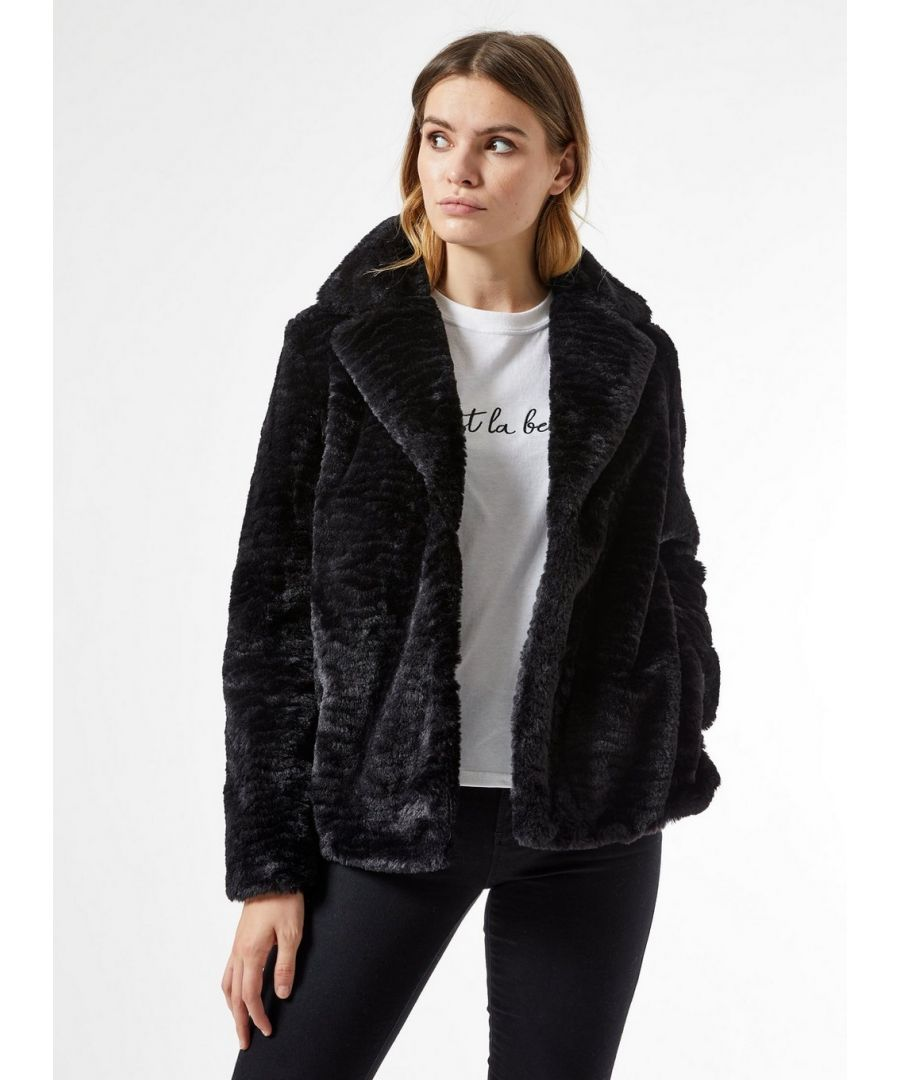 Image for Dorothy Perkins Womens Black Short Textured Faux Fur Fluffy Teddy Winter Coat