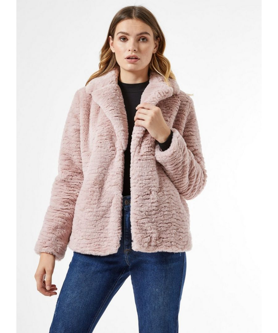 Image for Dorothy Perkins Womens Pink Textured Short Faux Fur Fluffy Teddy Winter Coat
