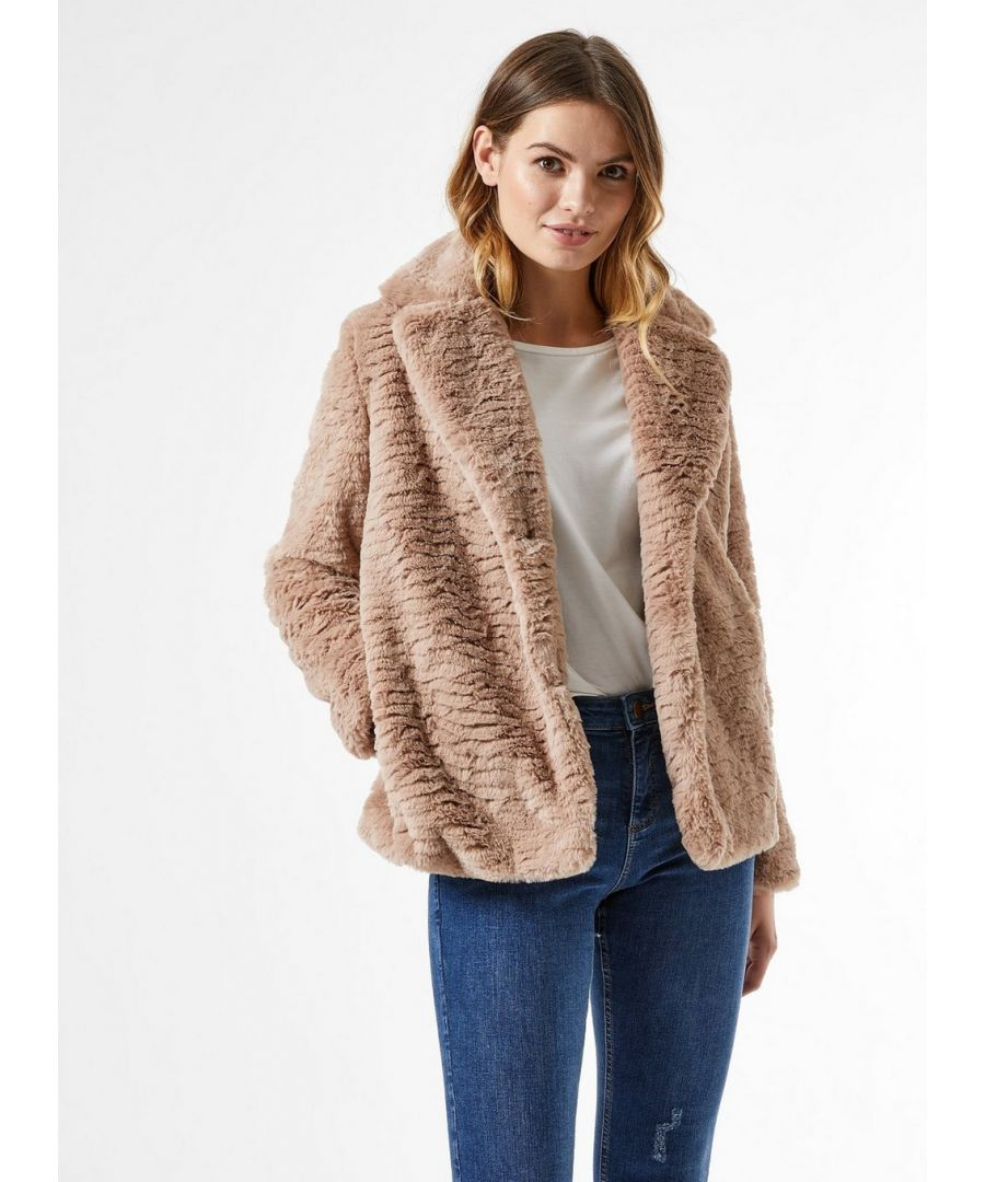 Image for Dorothy Perkins Womens Mink Short Textured Faux Fur Fluffy Teddy Winter Coat