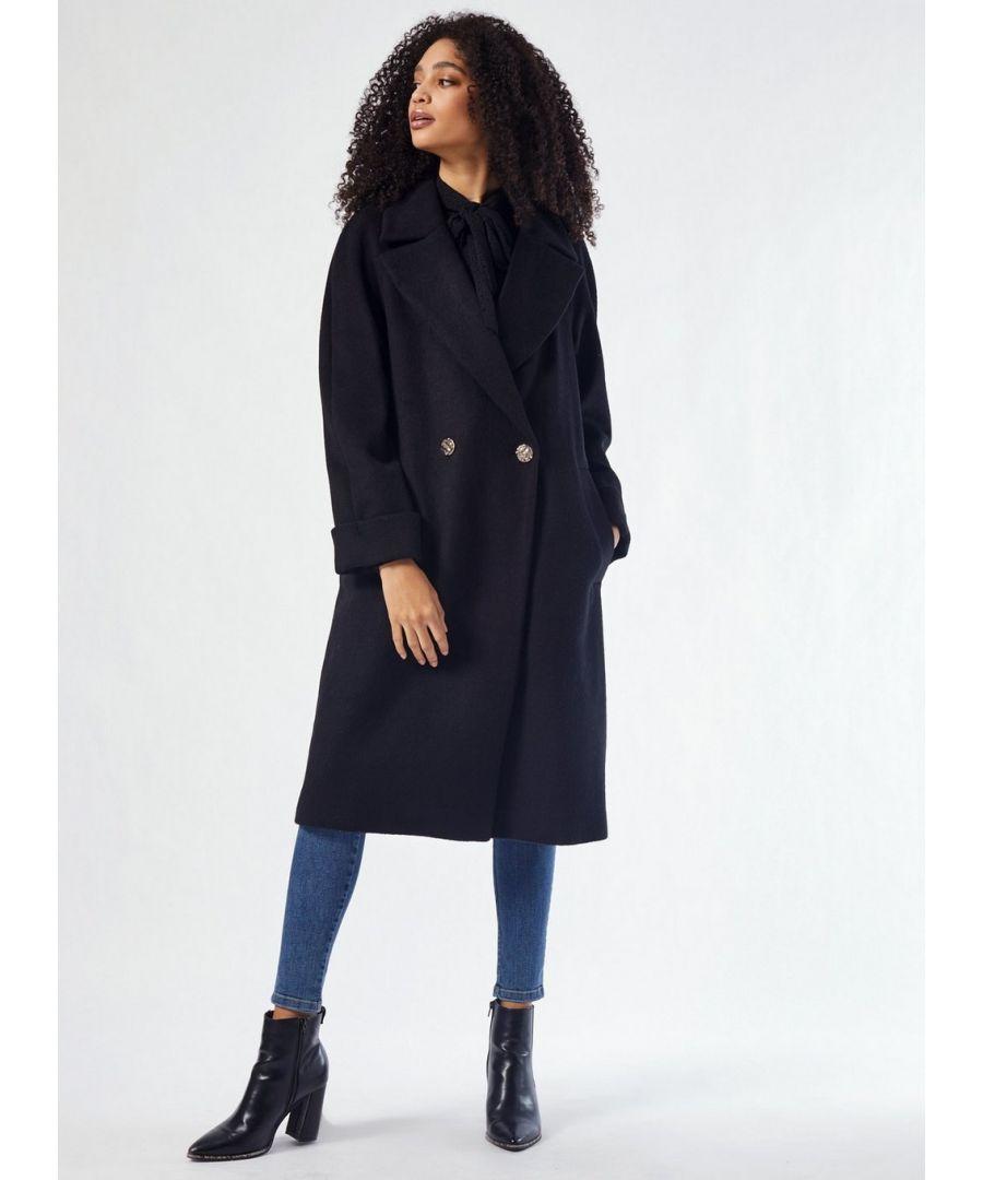 Image for Dorothy Perkins Womens Black Premium Wool Boyfriend Coat Warm Jacket Outwear Top