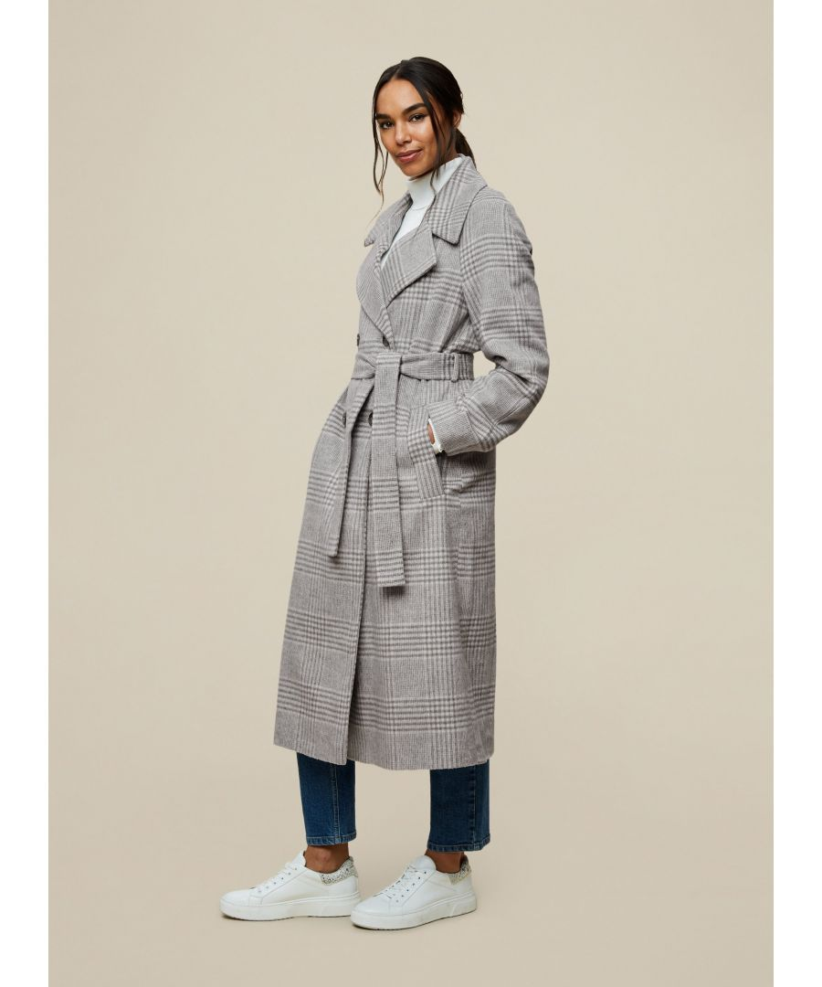 Image for Dorothy Perkins Womens Grey Check Print Wrap Maxi Coat Jacket Outwear Top