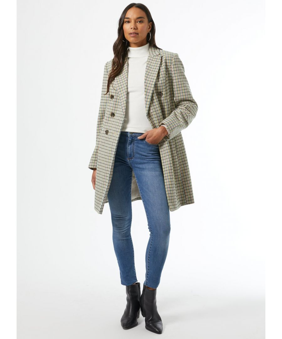 Image for Dorothy Perkins Womens Ivory Check Print Double Breasted Coat Jacket Outwear Top