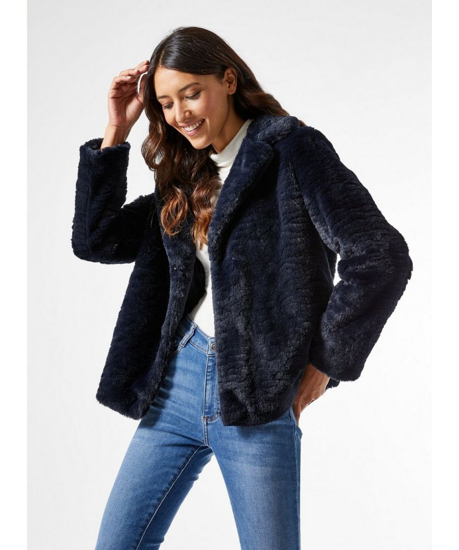 Image for Dorothy Perkins Womens Navy Short Textured Faux Fur Fluffy Teddy Winter Coat