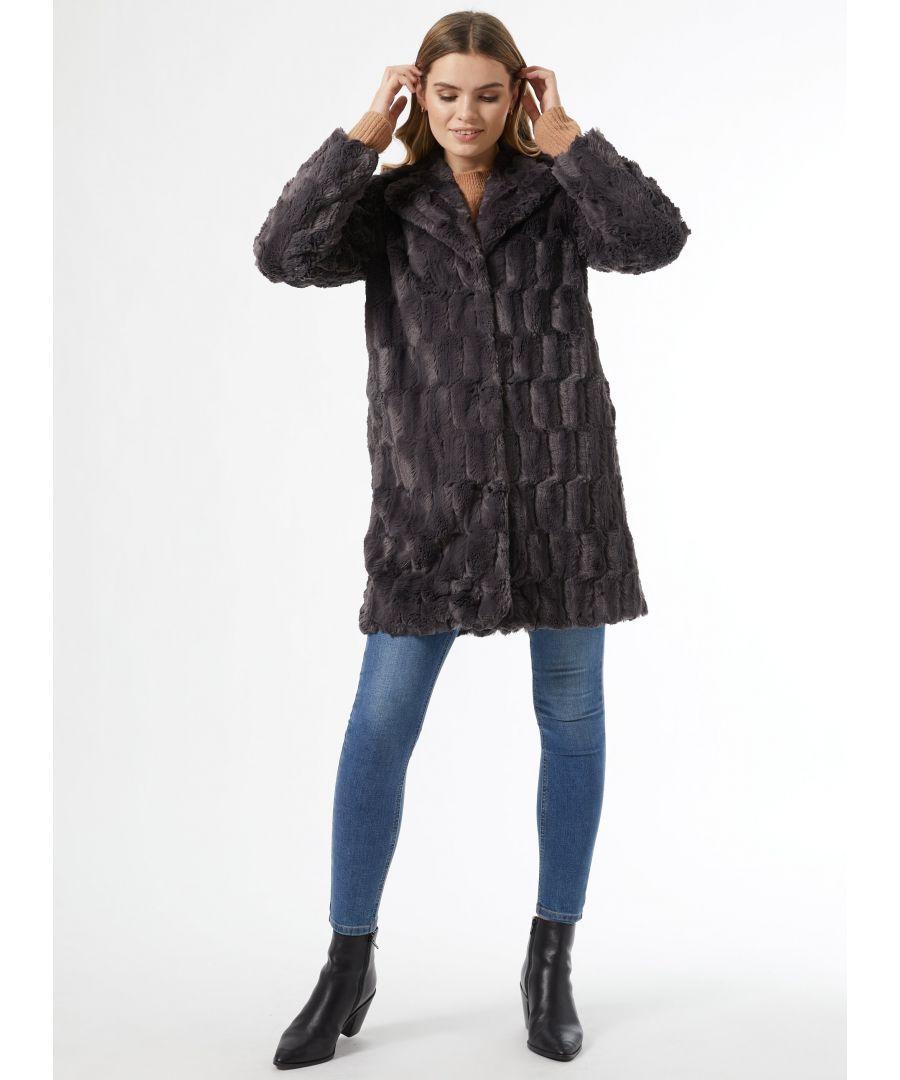 Image for Dorothy Perkins Womens Grey Longline Fur Coat Warm Winter Jacket Outwear Top