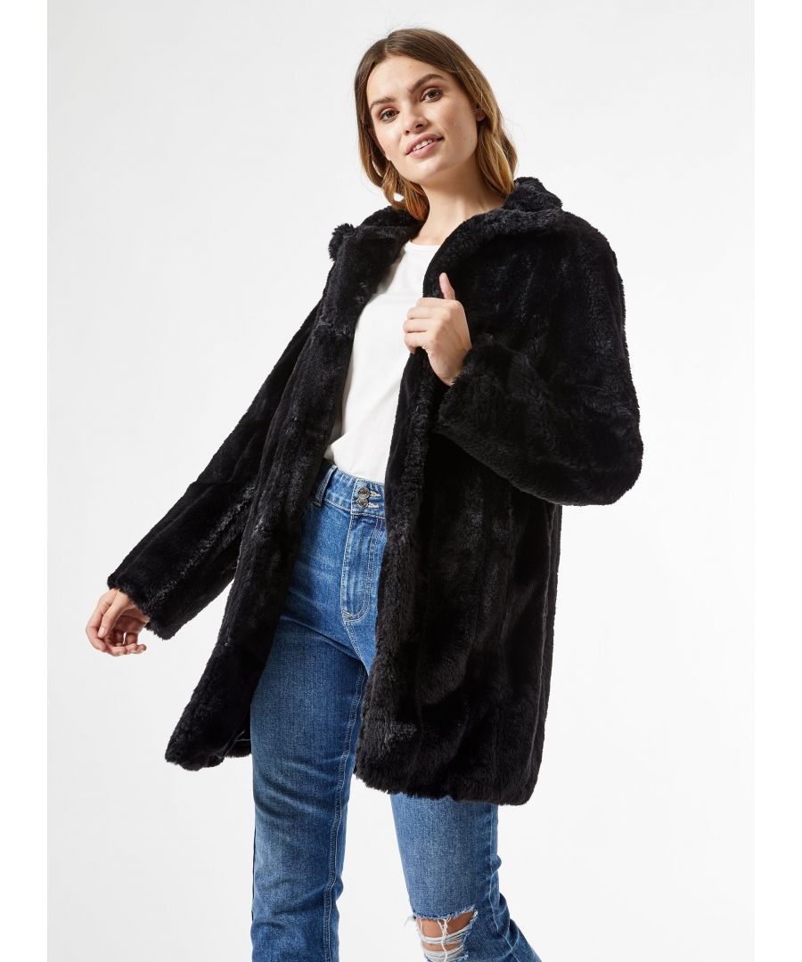 Image for Dorothy Perkins Womens Black Pelted Faux Fur Coat Jacket Outwear Top Warm Winter