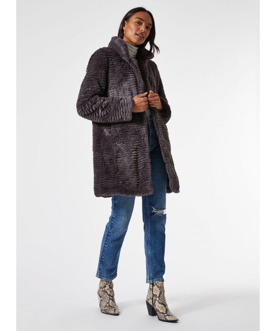 Image for Dorothy Perkins Womens Grey Slate Longline Faux Fur Coat Jacket Outwear Top