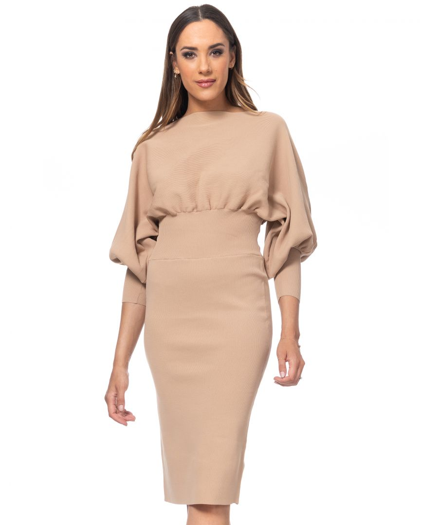 Image for Knit midi dress with bishop sleeves and elastic waist