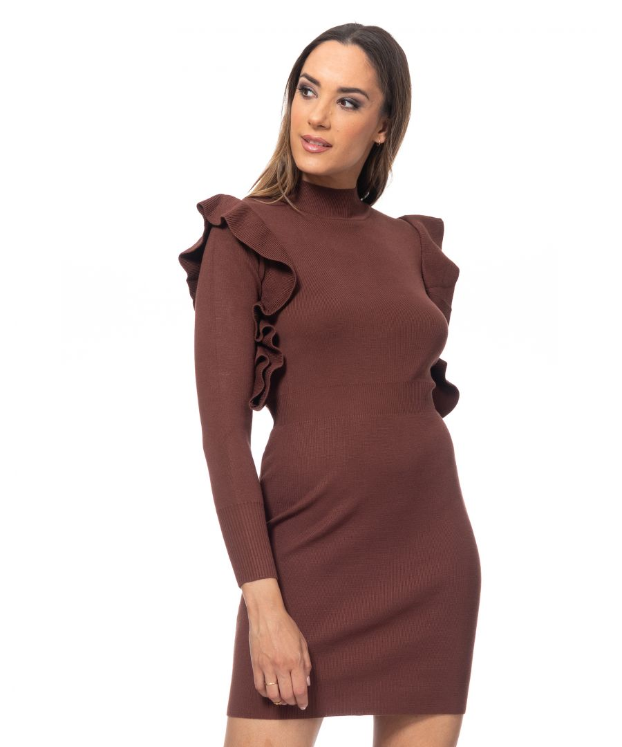 Image for Knit dress with elastic waist and ruffle sleeves