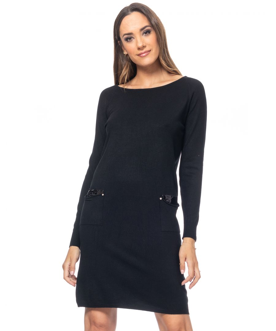 Image for Knit wide dress with sequins pockets and mirror buttons back detail