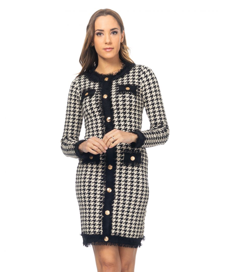 Image for Houndstooth knit dress with gold button details and fringes
