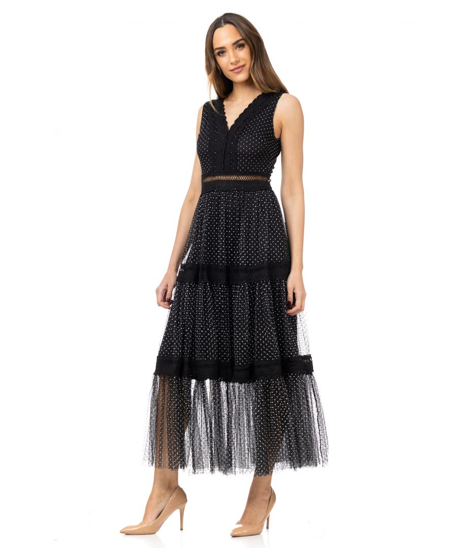 Image for Long plumeti dress with v-neck and lace details